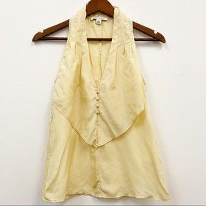 Banana Republic Pale Yellow Silk Sleeveless Blouse